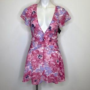 Nasty Gal Pink Floral Plunge Neck Mini Dress